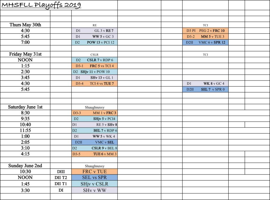 Playoff Schedule 2019 working